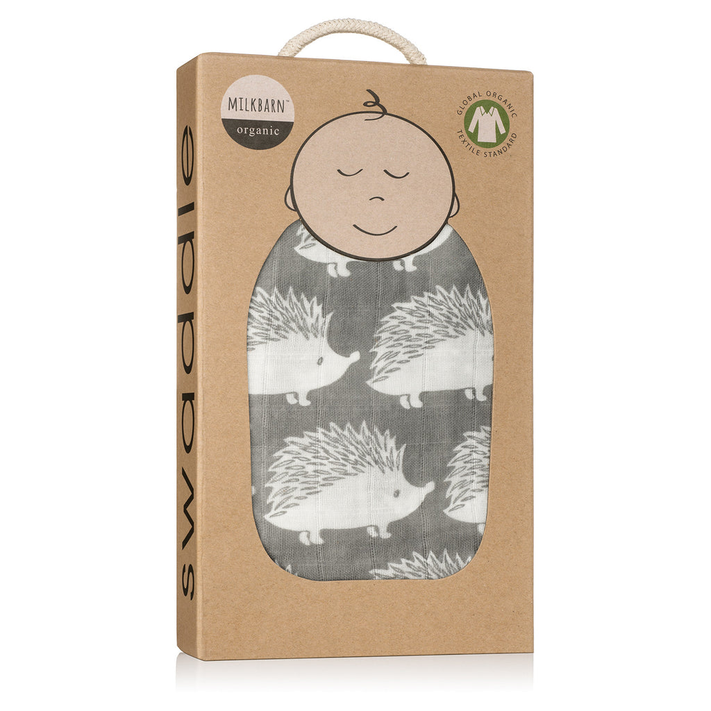 Organic Cotton Swaddle - Grey Hedgehog