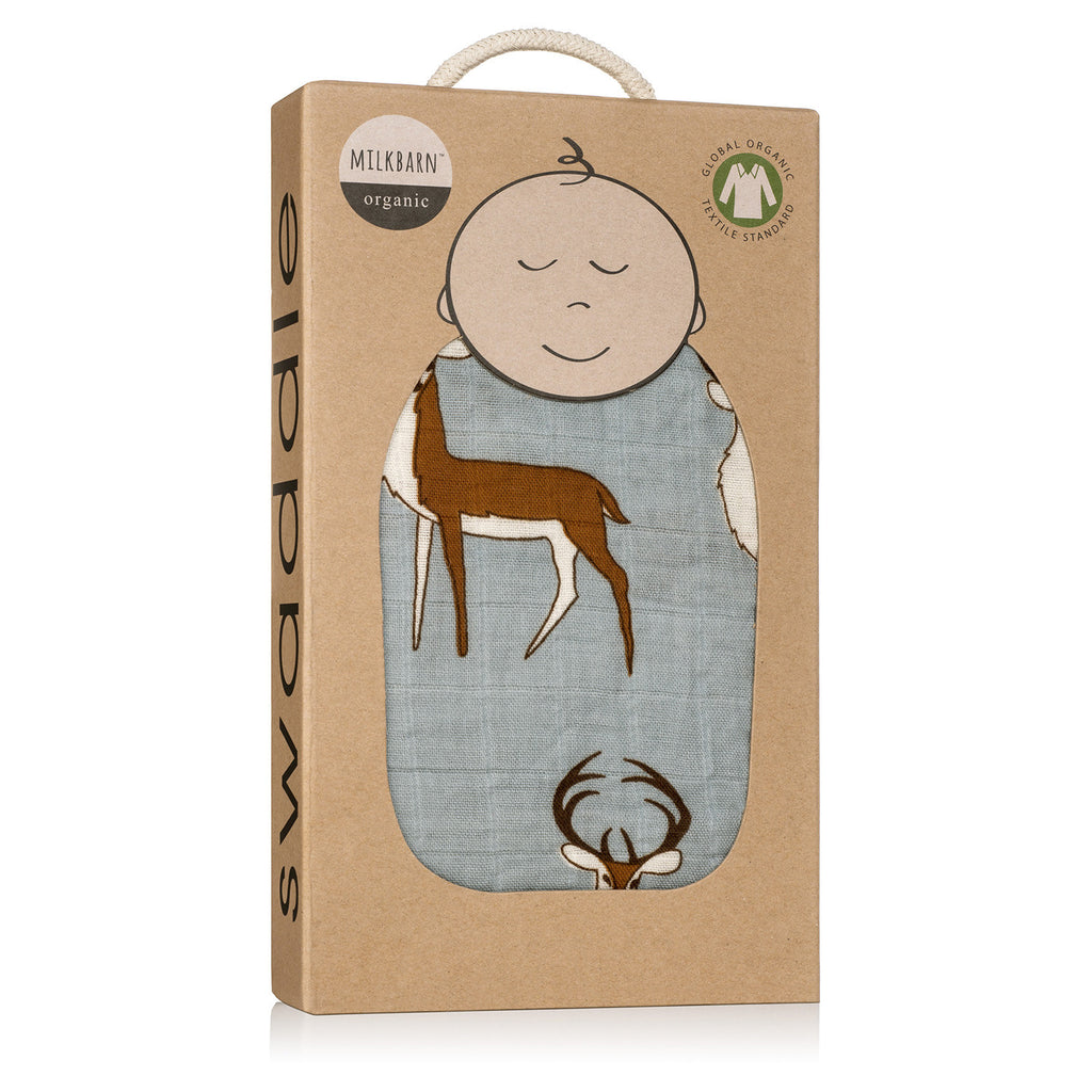 Organic Cotton Swaddle - Blue Buck