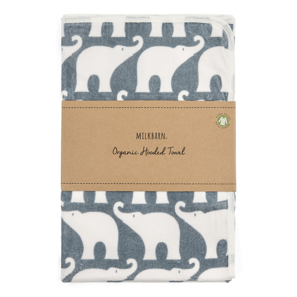 Organic Hooded Towel - Blue Elephant