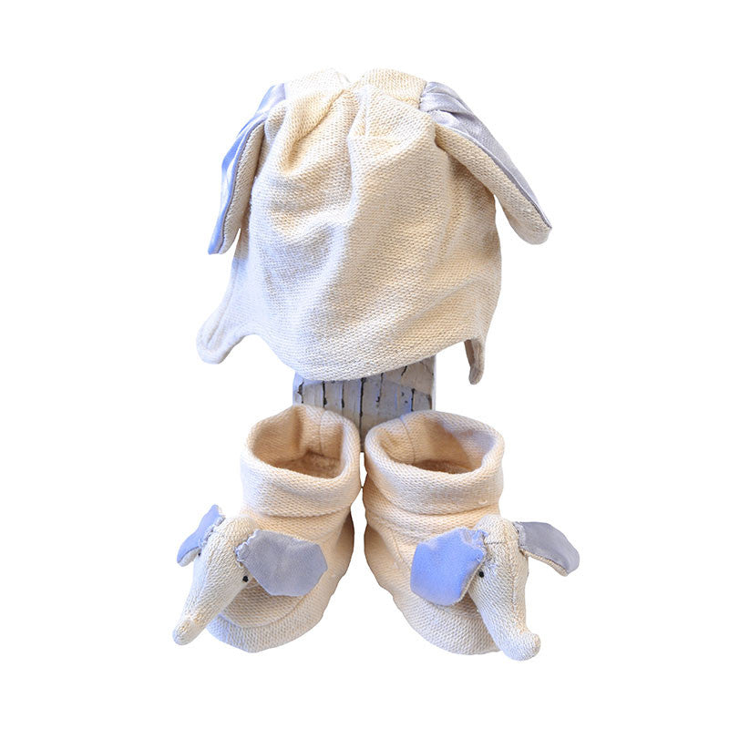Organic Cotton Knit Cap & Booties - Ellie the Elephant