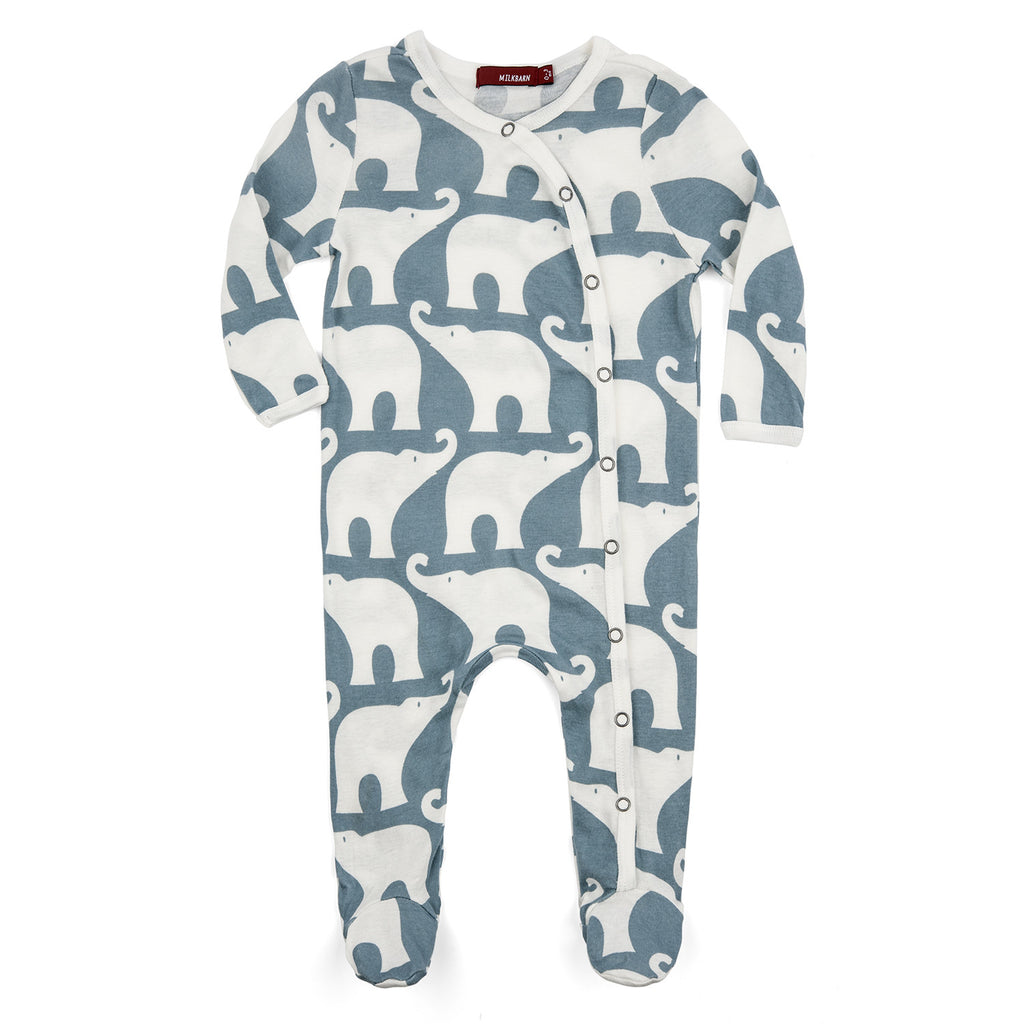Organic Cotton Footed Romper - Blue Elephant