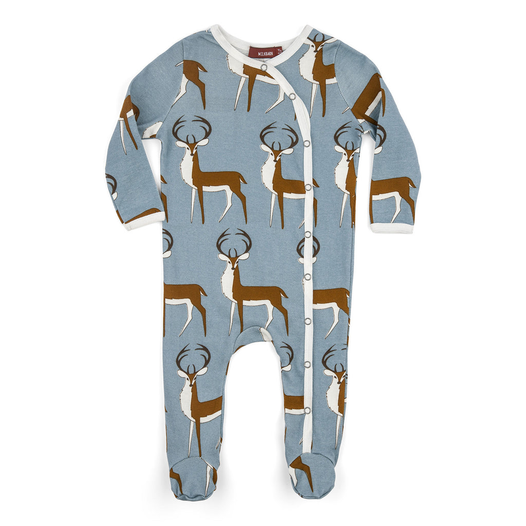 Organic Cotton Footed Romper - Blue Buck