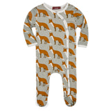 Organic Cotton Footed Romper - Orange Fox