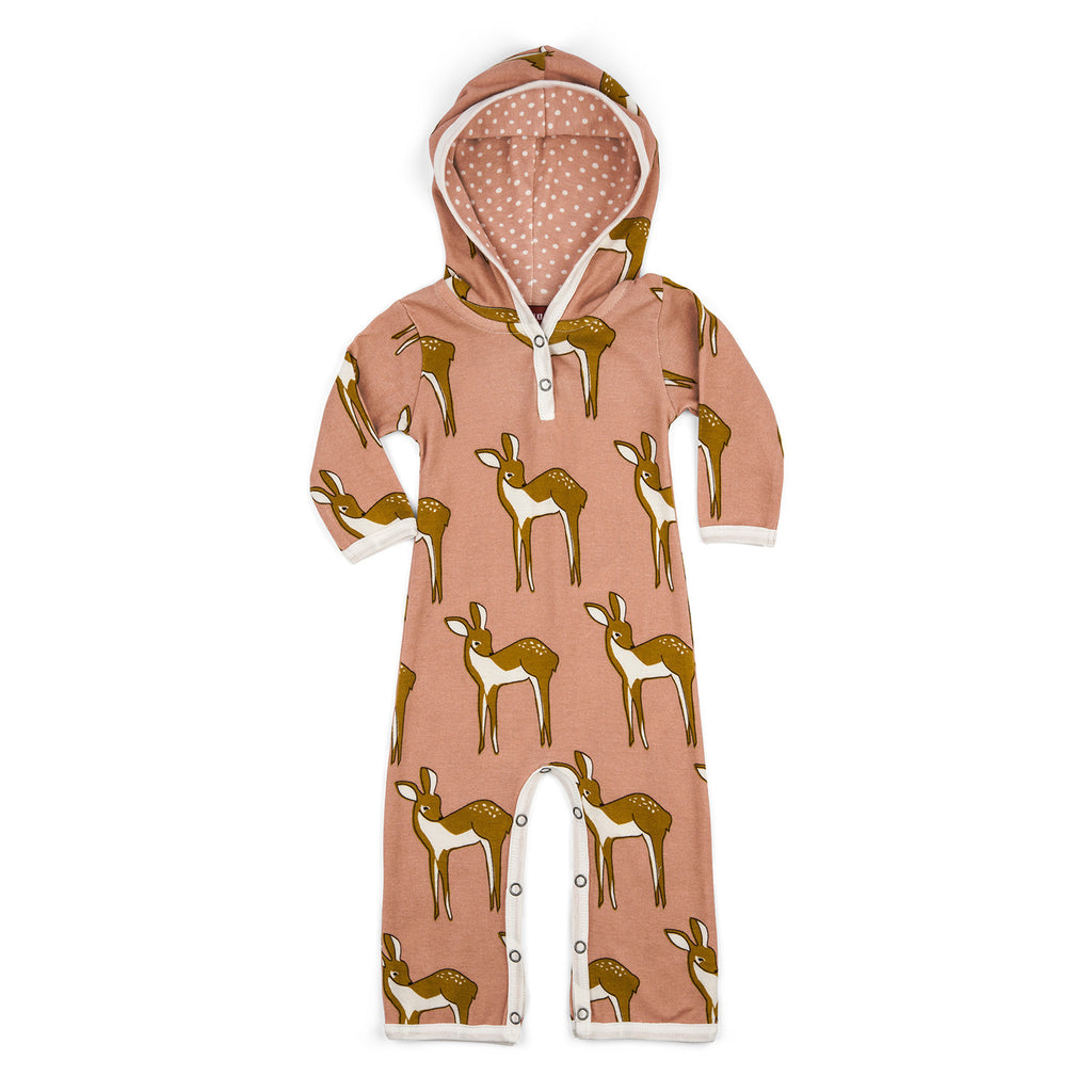 Organic Cotton Hooded Romper - Rose Doe