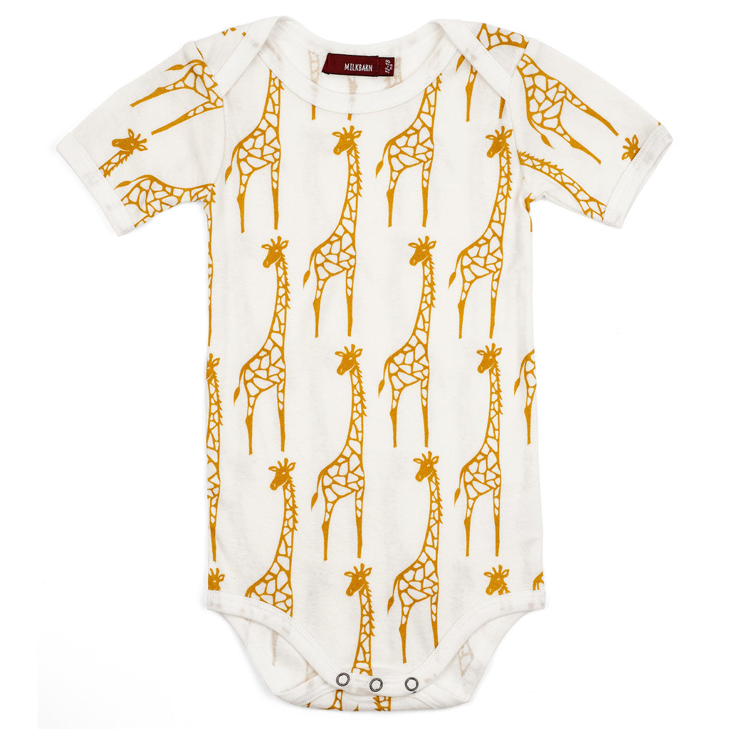 Organic Cotton Short Sleeve Onesie - Giraffe