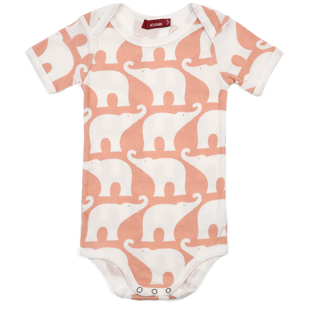 Organic Cotton Short Sleeve Onesie - Rose Elephant