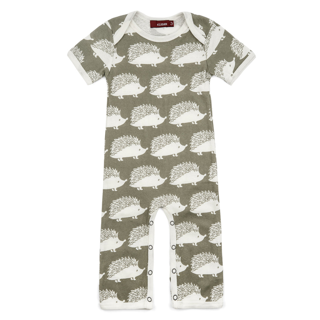 Organic Cotton Romper - Grey Hedgehog