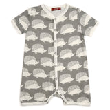 Organic Cotton Short Sleeve Shortall Romper - Grey Hedgehog