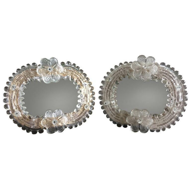 Italian Murano Glass Venetian Mirrors-Pair