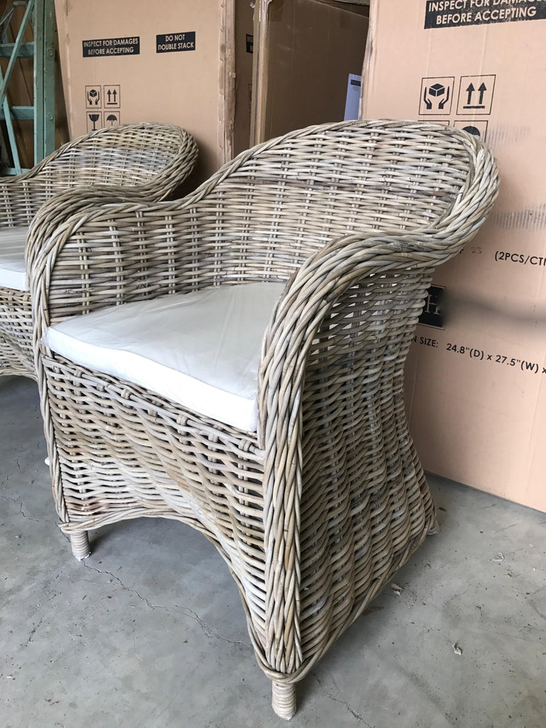 Set of Two Rattan Dining Chairs
