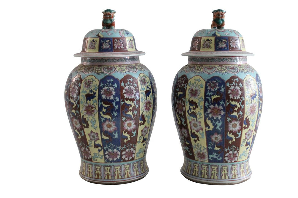 Chinoiserie Urns- Pair