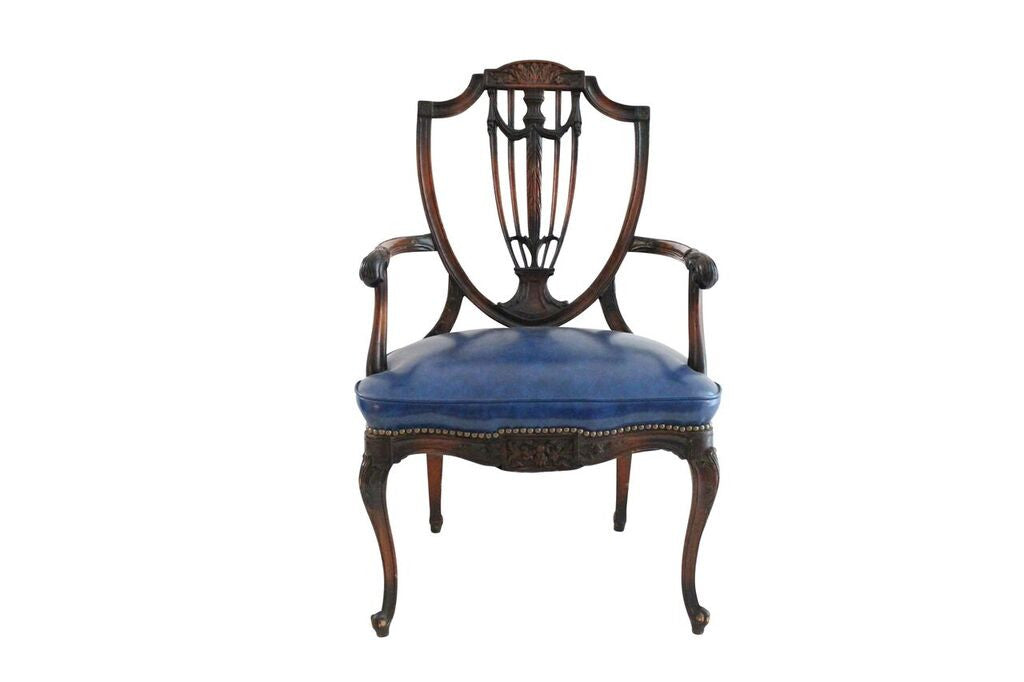 Walnut & Leather French Armchair