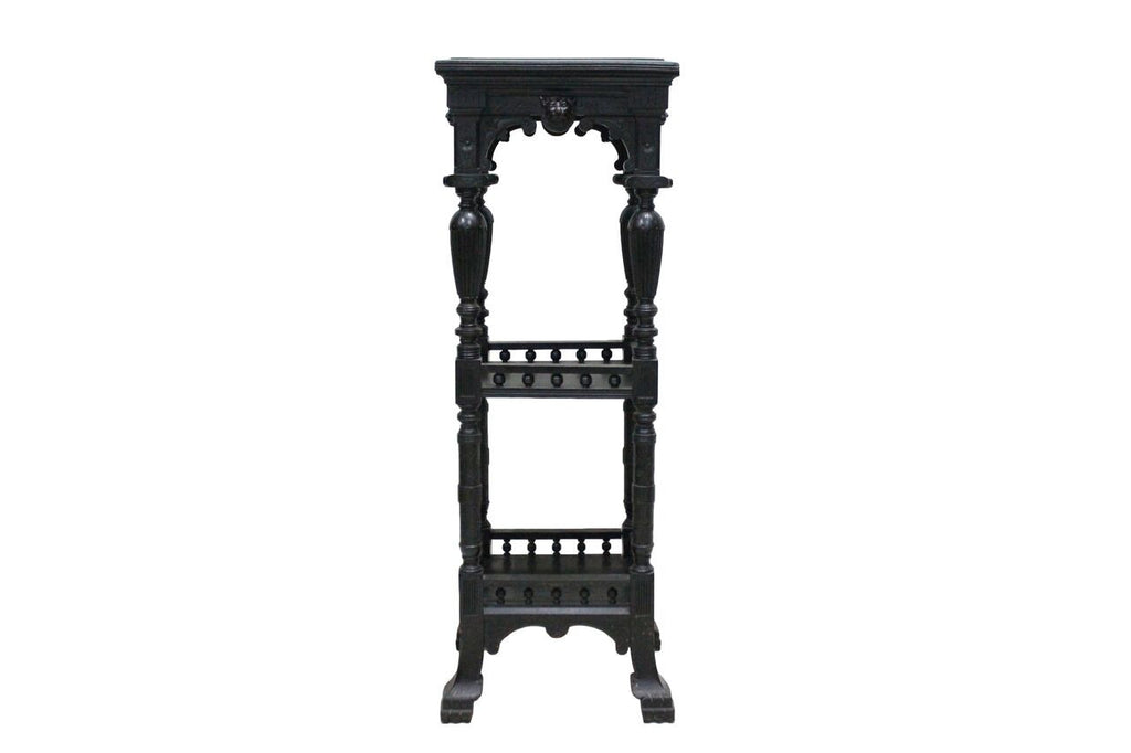 Ebonized Lion-Faced Pedestal