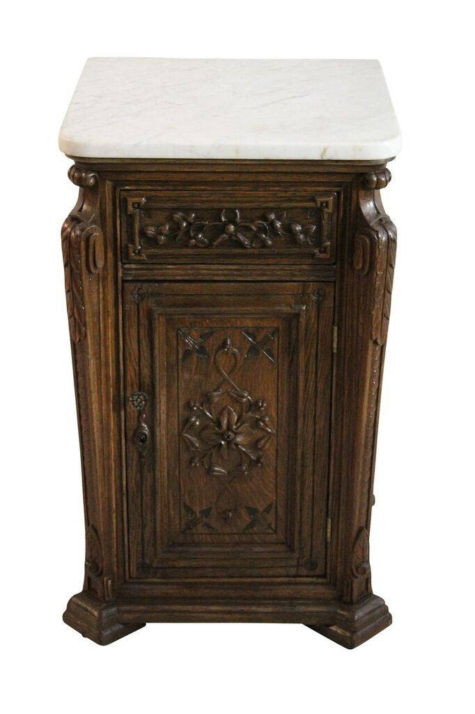 French Carved Oak Marble Side Table