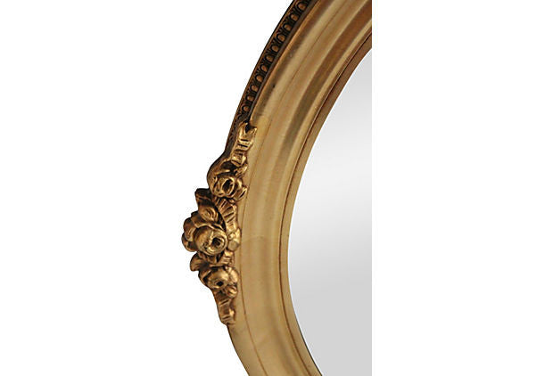 Gilded Rose Oval Mirror