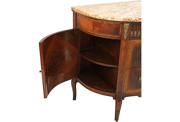 French Marble Top & Walnut Demilune Commode