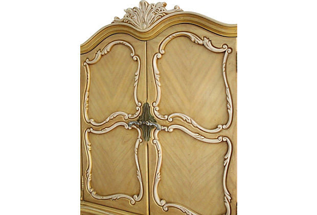 Carved French Style Yellow & White Armoire