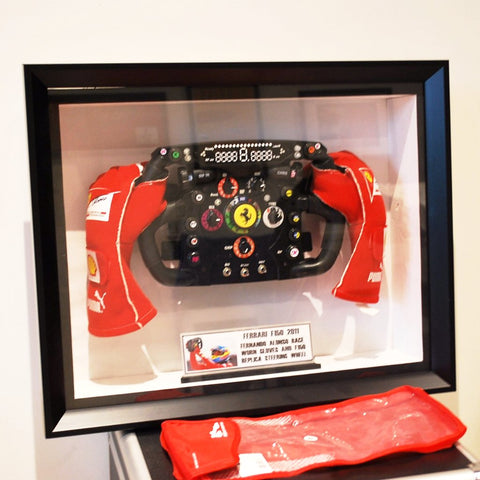 Fernando Alonso gloves and steering wheel Ferrari F150 signed F1