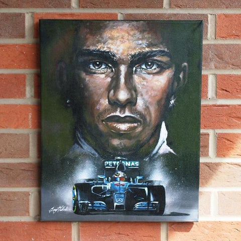 Lewis Hamilton Mercedes original art work painting F1 Formula one