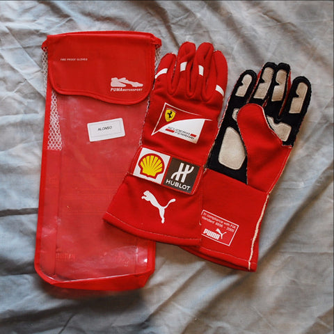 Fernando Alonso 2014 race worn and signed gloves