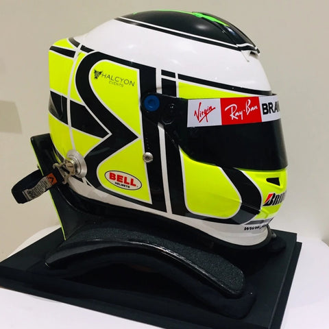 Jenson Button 2009 Brawn F1 helmet hans device Formula 1 signed