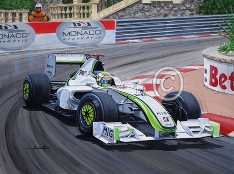 Andrew Kitson original art work - Jenson Button Monaco Brawn 2009