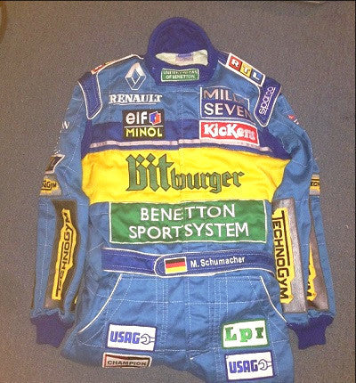 Michael Schumacher 1995 Benetton worn overalls race suit f1