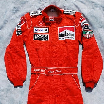 Alain Prost signed and worn race suit overalls 1996 F1 Mclaren