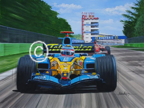 Andrew Kitson original art work - Fernando Alonso and Michael Schumacher Ferrari