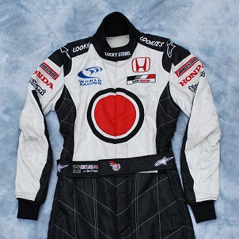 Jenson Button worn and signed race suit overalls Honda F1