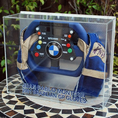 Juan Pablo Montoya Steering wheel and gloves signed f1
