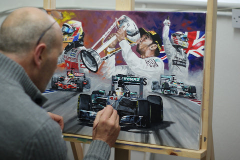 Lewis Hamilton original art work painting Mercedes Mclaren