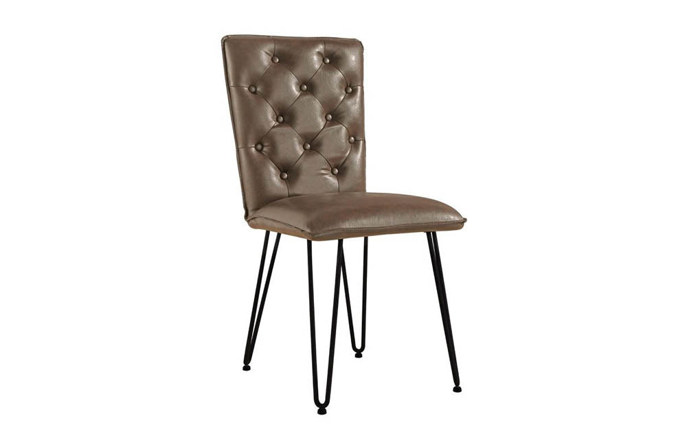 Manor Collection Berwick Studded Back Chair with Hair Pin Legs (Brown)