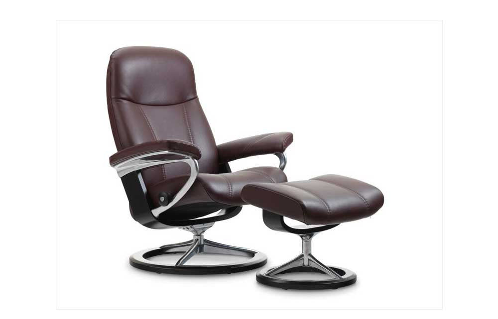 Stressless Consul Recliner Chair with Footstool (M) (Signature Base) - Promotion