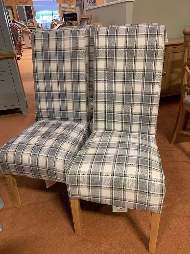 Manor Collection Dining Chair Cappucino Check Fabric Set of 4
