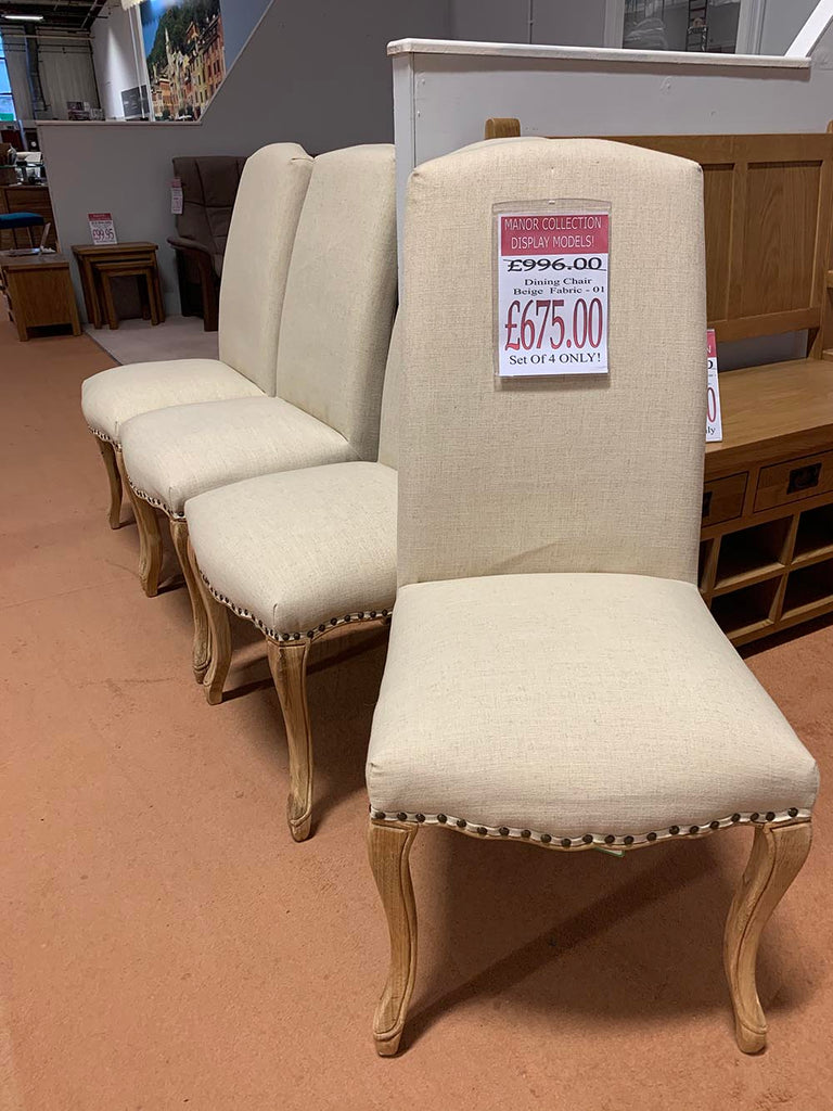 Manor Collection Dining Chair Beige Fabric Set of 4