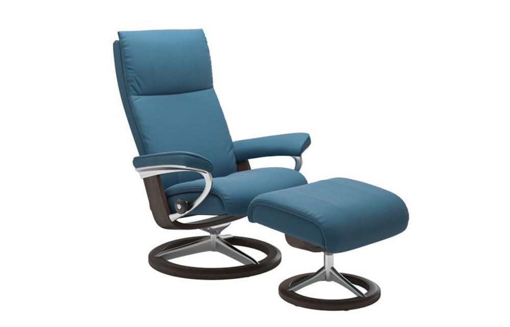 Stressless Aura Recliner Chair with Footstool (L) (Signature Base)