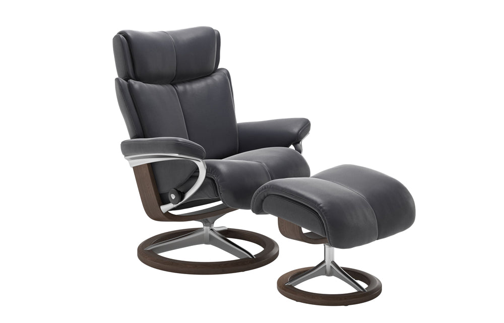 Stressless Magic Reclining Chair with Footstool (S) (Signature Base)