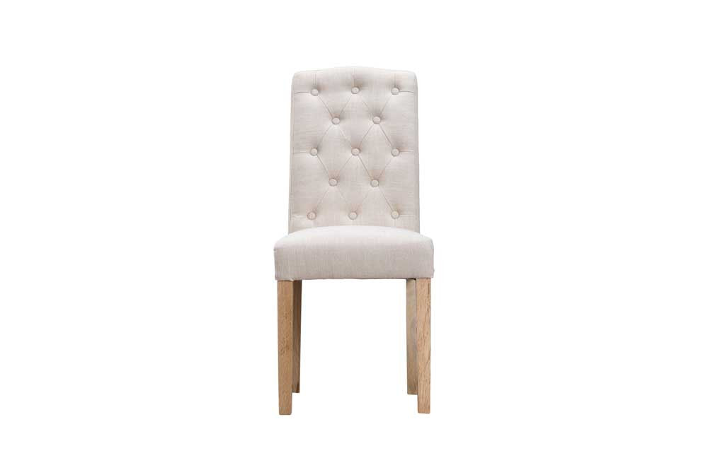 Manor Collection Upholstered Button Back Chairs - Beige
