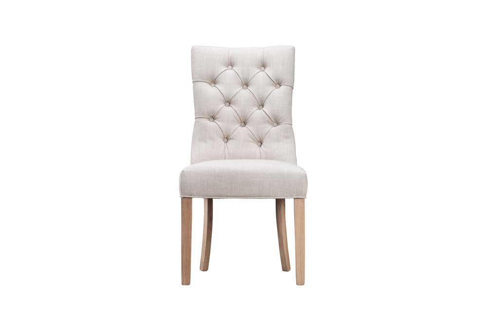 Manor Collection Upholstered Curved Button Back Chair - Natural