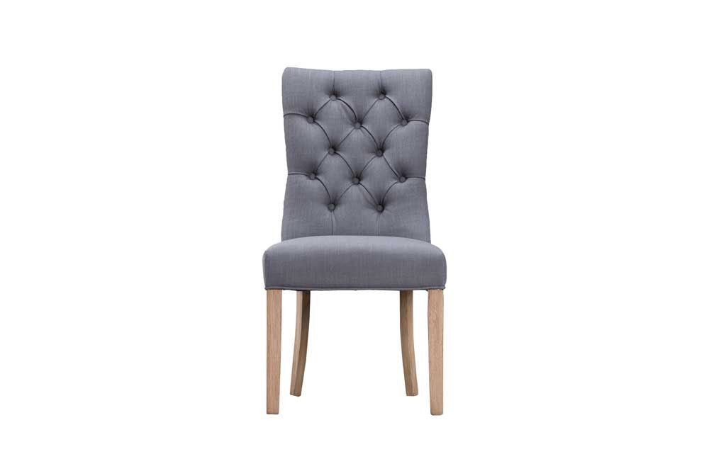 Manor Collection Upholstered Curved Button Back Chair - Grey