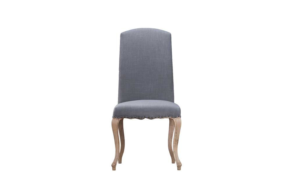 Manor Collection Upholstered Luxury Chair With Studs - Grey