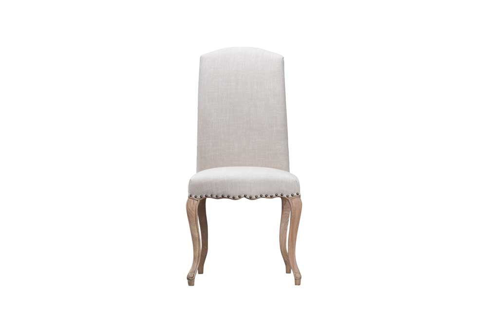 Manor Collection Upholstered Luxury Chair With Studs - Natural