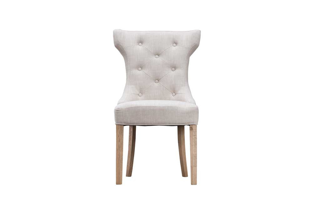 Manor Collection Upholstered Winged Button Back Chair - Beige