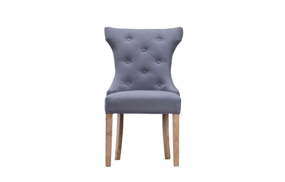 Manor Collection Upholstered Winged Button Back Chair - Grey
