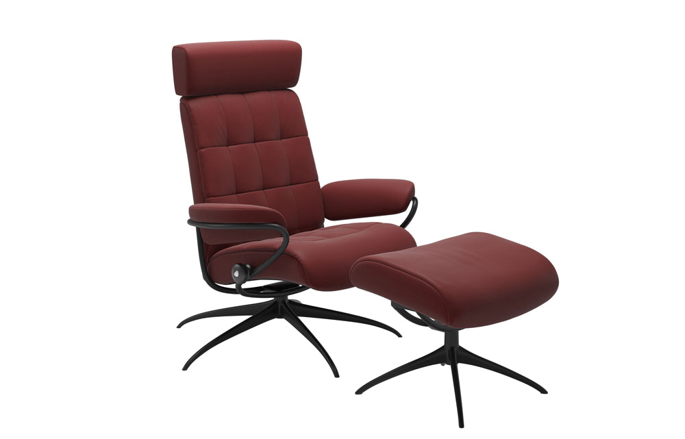 Stressless London Chair with Adjustable Headrest and Footstool (Star Base)