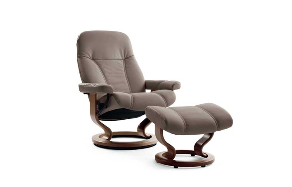 Stressless Consul Recliner Chair with Footstool (S) (Classic Base)