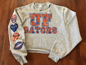 Bandana Letters Cropped College Sweatshirt with Matching Sleeve - lovekess - clothing
