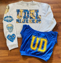 Load image into Gallery viewer, Bandana Letters Cropped College Sweatshirt with Matching Sleeve - lovekess - clothing
