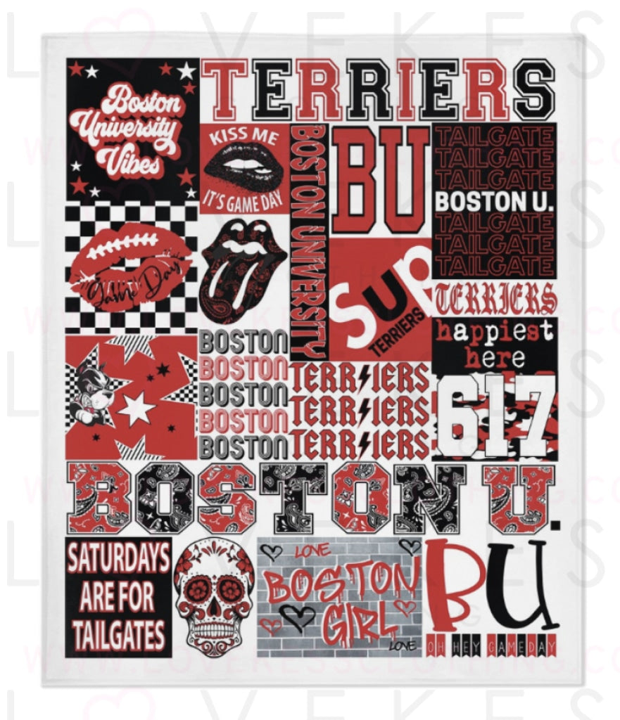 Boston University College Spirit Custom Fleece Blanket by LoveKess Clothing - lovekess - clothing